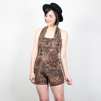 Vintage Leopard Print Romper 1980s Leotard Playsuit 80s Shorts Jumper Halter Neck Bodycon Romper Backless Shortalls Bodysuit XS S Small M