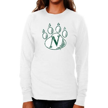Northwest Missouri State Bearcats Ladies Distressed Logo Vintage Long Sleeve Slim Fit T-Shirt - White