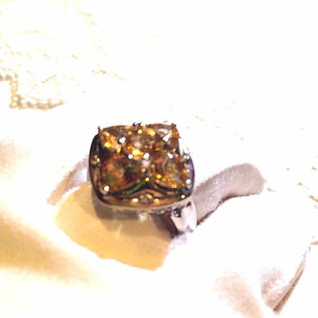 Vintage Gothic Genuine Citrine Filigree 925 Sterling Silver Ring