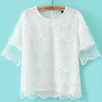 Round Neckline Sheer Lace White Top