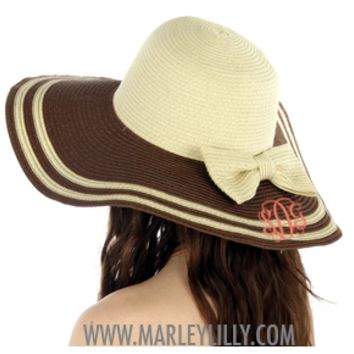 Monogrammed Brown Brim Floppy Hat with Bow | Derby Hat | Marley Lilly