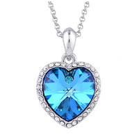 Charm Rhinestone crystal Heart Titanic Necklace Pendant Vintage Necklace Sky Blue
