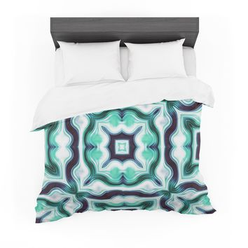"""Dawid Roc """" Vintage Flower Pattern 3"""" Green Abstract Featherweight Duvet Cover"""