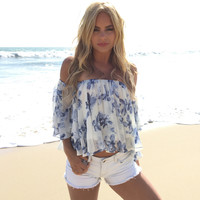 Affectionate Off Shoulder Top In Blue