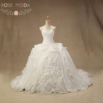Rose Moda Organza Ball Gown Pearl Beaded Ruffled Wedding Dress Plus Size Lace Up Back Vestidos de Noiva Real Photos