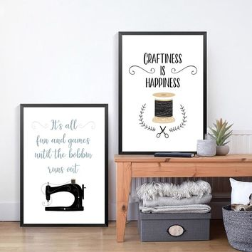 Crafts Room Decor Sewing Art Picture Canvas Poster , Craftiness is happiness Crafts Quote Prints Sewing Room Wall Art Decor
