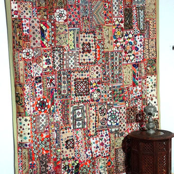 Vintage Sari Patchwork Large Tapestry Gypsy Sari Patchwork Large Wall Hanging