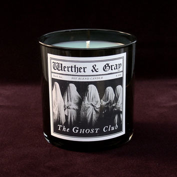 THE GHOST CLUB Candle, 9oz Black Tumbler, Dark Series, Werther + Gray, Gothic History Vintage Victorian Style, Soy Blend, Scented Candle