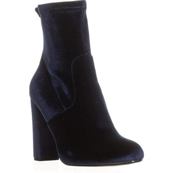 Steve Madden Brisk Stretch Ankle Booties, Navy Velvet, 7 US