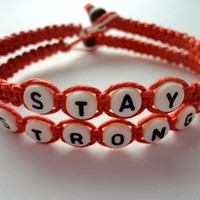 Stay Strong Bracelet Set, Macrame Hemp in Red