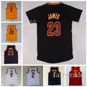 Best Quality 23 LeBron James Jersey 0 Kevin Love 2 Kyrie Irving Shirt Uniforms 5 Jr Smith with sleeve Black Navy Blue White Red Yellow