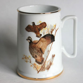 Porcelain Audubon Tankard Stein, Bob White Birds, Vintage 1985 John James Gold Gilt Trim Bird Watching Mug, Made in Japan
