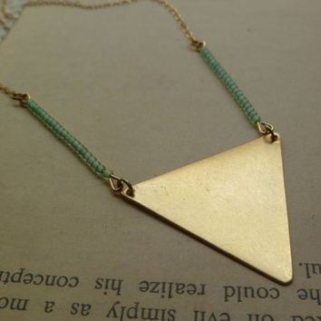 Triangle necklace with mint green beads by littlepancakes on Etsy