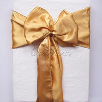 """Fashion Gold 6""""x108"""" Satin Chair Cover Sash for Wedding Event Party Supply Professional Decoration Products"""