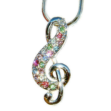 Pastel Rainbow Swarovski Crystal TREBLE G CLEF Love Music Musical Note Charm Pendant Necklace Christmas Gift new