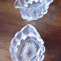 Vintage Scalloped Edge Clear Glass Sugar Creamer Set