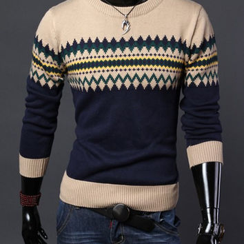 Cadet Blue Argyle Ripple Jacquard Long Sleeve Sweater