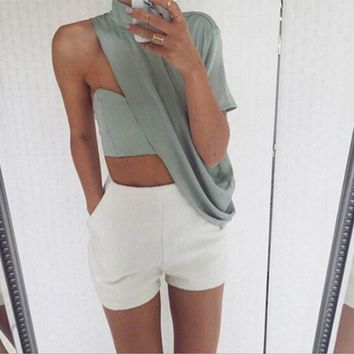 Sexy Solid color Tops + white shorts Two-Piece Set