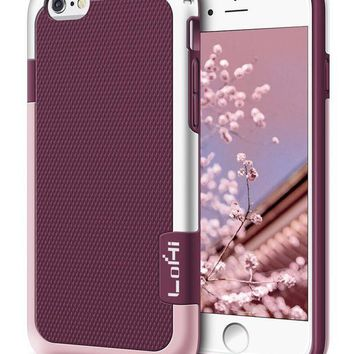 CREYRQ5 iPhone 6s Plus / 6 Plus Case, LoHi [Extra Front Raised Lip] Hybrid Impact 3 Color Shockproof Rugged Soft TPU Hard PC Bumper Anti-slip Cover 5.5 Inch Wine Red