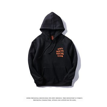 Mens Hooded Sweatshirt Anti Social Social Club Fashion Hoodie AntiSocialSocialClub Black Orange