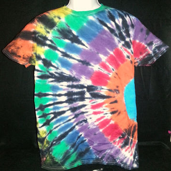 Hand Dyed Multi Color Wave Tie Dye Shirt | Hanes Beefy-T 6.1oz Shirt Adult Adult (SHORT or LONG SLEEVE)