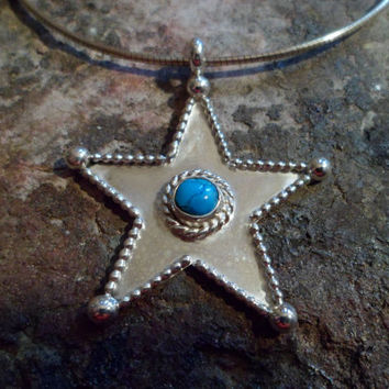 Authentic Navajo,Native American Southwestern country western,sterling silver bead and turquoise star pendant/necklace. Dallas Cowboys.