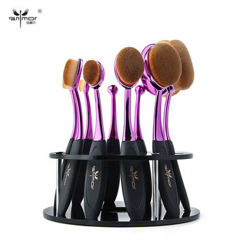 Oval Makeup Brush 10 pcs Makeup Brush Set MULTIPURPOSE Professional Foundation Powder Brush Kit  With Make Up Brushes Stand