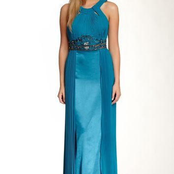 Sue Wong - N4312 Pleated Embroidered Empire Waist Sheath Gown