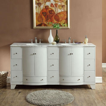 "SILKROAD EXCLUSIVE 72"" WHITE OAK DOUBLE SINK CABINET WITH CARRARA MARBLE TOP"
