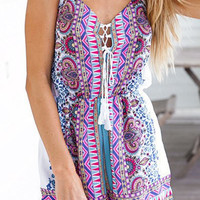Purple Bohemian Print Spaghetti Strap Dress