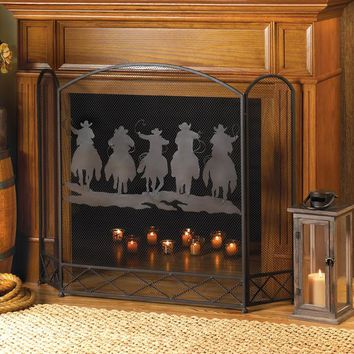 Fireplace Screen-Cowboy Roundup Silhouette