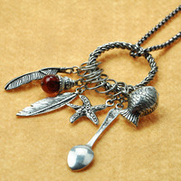 Silver Charms and Pendants Long Necklace