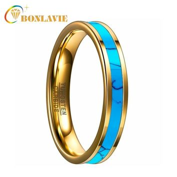 BONLAVIE 4MM Men Women Tungsten Ring Gold Color Inlay Blue Natural Stone Tungsten Carbide Steel Rings Anniversary Wedding Ring