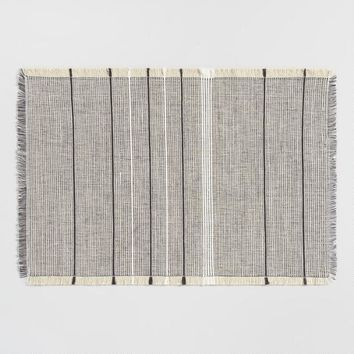 White and Brown Woven Jute Placemats Set of 4