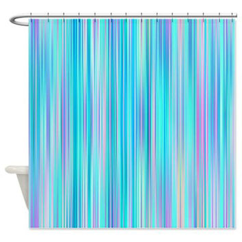 Stripes Shower Curtain - Blue Lagoon - Ornaart Design
