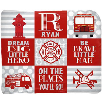 FIRETRUCK Baby Blanket - Firetruck Nursery Bedding - Firetruck Blanket - Boy Name Blanket - Boy Shower Gift - Swaddle Blanket Pillow Set