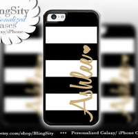 Personalized iPhone 5C Case iPhone 5s Case iPhone 4 Case Ipod 4 5 Black Striped Gold Name Heart Monogram Gift