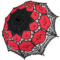 Lace Parasol - Red/Black