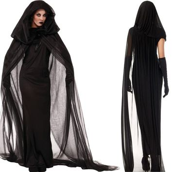 Halloween Costumes Dress for Woman Vampire Zombie Cosplay Day of The Dead Veil+Gloves+Dress Medieval Witch Scary Costume
