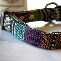 Purple Turquoise Mexican Woven Dog Collar 3/4 Inch Wide -F-