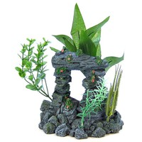 Blue Ribbon Pet Products Blue Ribbon Rock Arch with Plants Aquarium Ornament Aquarium Arches and Bridge Ornaments