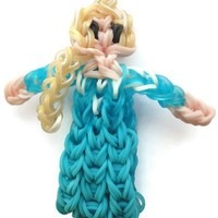 Queen Elsa inspired loom band charm action figurine bag zipper pull