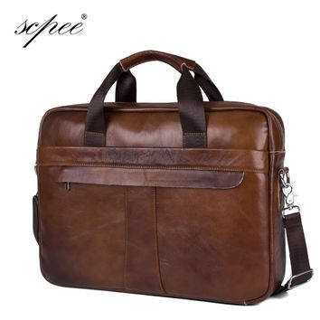 SCPEE New Men's Casual Leather Bag Handbag Leather Men's Messenger Bag Men's Briefcase Computer Bag Free Shipping