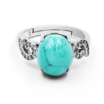 Swirl Cabochon Turquoise & Sterling Silver Ring
