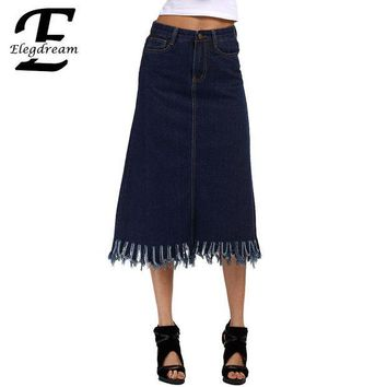 CREY8UH Elegdream S 5XL Plus Size Clothing Fashion Lady Tassel Skirt High Waist Women Denim Pencil Jean Skirts Calf Length Summer Style