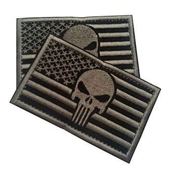 """American Flag USA Punisher Morale Patch Tactical Patch with Velcro for Tactical and Operator Hats 2-Pack Bundle (AP Stealth, 2-Pack, 2"""" x 3"""")"""