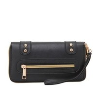 Double-Zip Wristlet Wallet by Charlotte Russe - Black