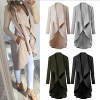 Women Fashion Autumn Long Sleeved Irregular Hem Solid color Casual Cardigan Windbreak Coat
