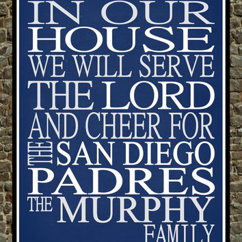 Customized Name San Diego Padres MLB Baseball personalized family print poster Christian gift sports wall art - multiple sizes
