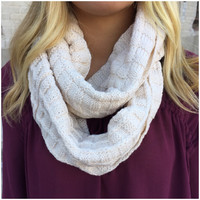 Hot off The Griddle Knit Infinity Scarf - CREAM - Hot off The Griddle Knit Infinity Scarf - CREAM
